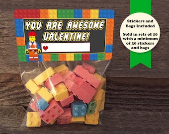 building blocks valentine treat bags building blocks stickers and bags school valentines classmate - Valentine Bags For School