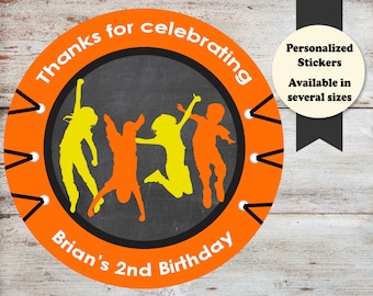 Trampoline Party Birthday Stickers, Jumping Party Stickers, Jump Party Favors, Trampoline Party Favors, Birthday Stickers, Jumping Stickers
