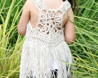 Fringe vest, girls vest, crocheted boho vest, girls gift, girls accessory, girls top, girls clothing