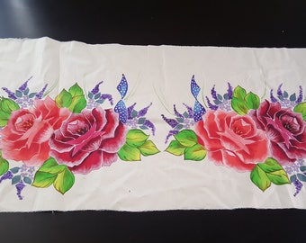 Beautiful Hand Painted spring pansy table linen/picture/cloth