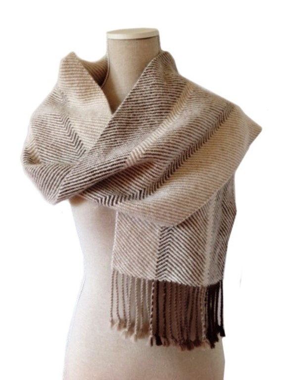 Scarf, 100% Alpaca Wool, Handwoven, colours off white, light camel, light brown, medium brown