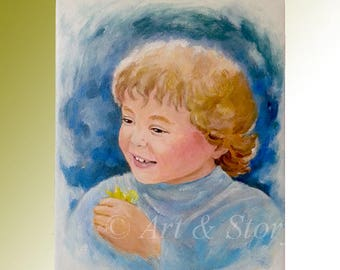 Child portrait painting | Baby portrait painting | Custom child portrait | Angel painting | Gift for her | Gift for him | Linda Knotter