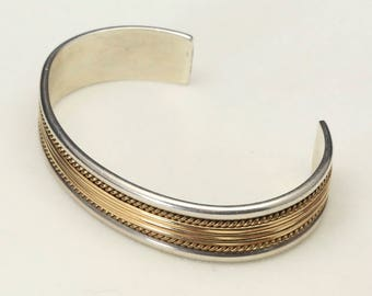 Vintage Sterling Silver & 1/20 12K G.F. Striped Cuff Bracelet Mix Metal Jewlery