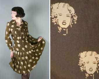 70s MARILYN MONROE print dress in brown and beige - novelty Hollywood starlet LADY face pattern - mod gogo pop art shirt dress - M