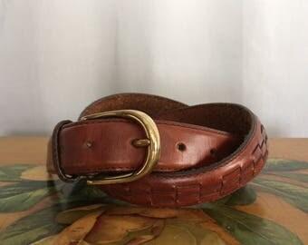 Brown Leather Belt Vintage Men's 36