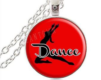 DANCE in Red Pendant Necklace, Recital Gift Dancer Teacher Gift Dance Jewelry