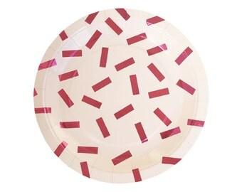 PINK CONFETTI PLATES (Set of 10) - Metallic Pink Confetti Plates  (23cm / 9 inch diameter)