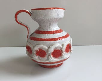 Vintage Italian Pottery Pitcher Raymor Era Orange and White
