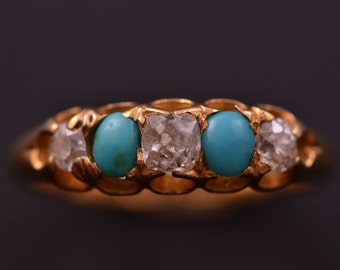 18ct Yellow Gold Victorian Gypsy Ring With Turquoise And Diamonds (886h)