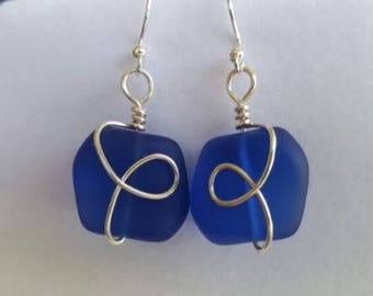 COBALT cultured sea glass nugget earrings wire wrapped in silver plated wire.