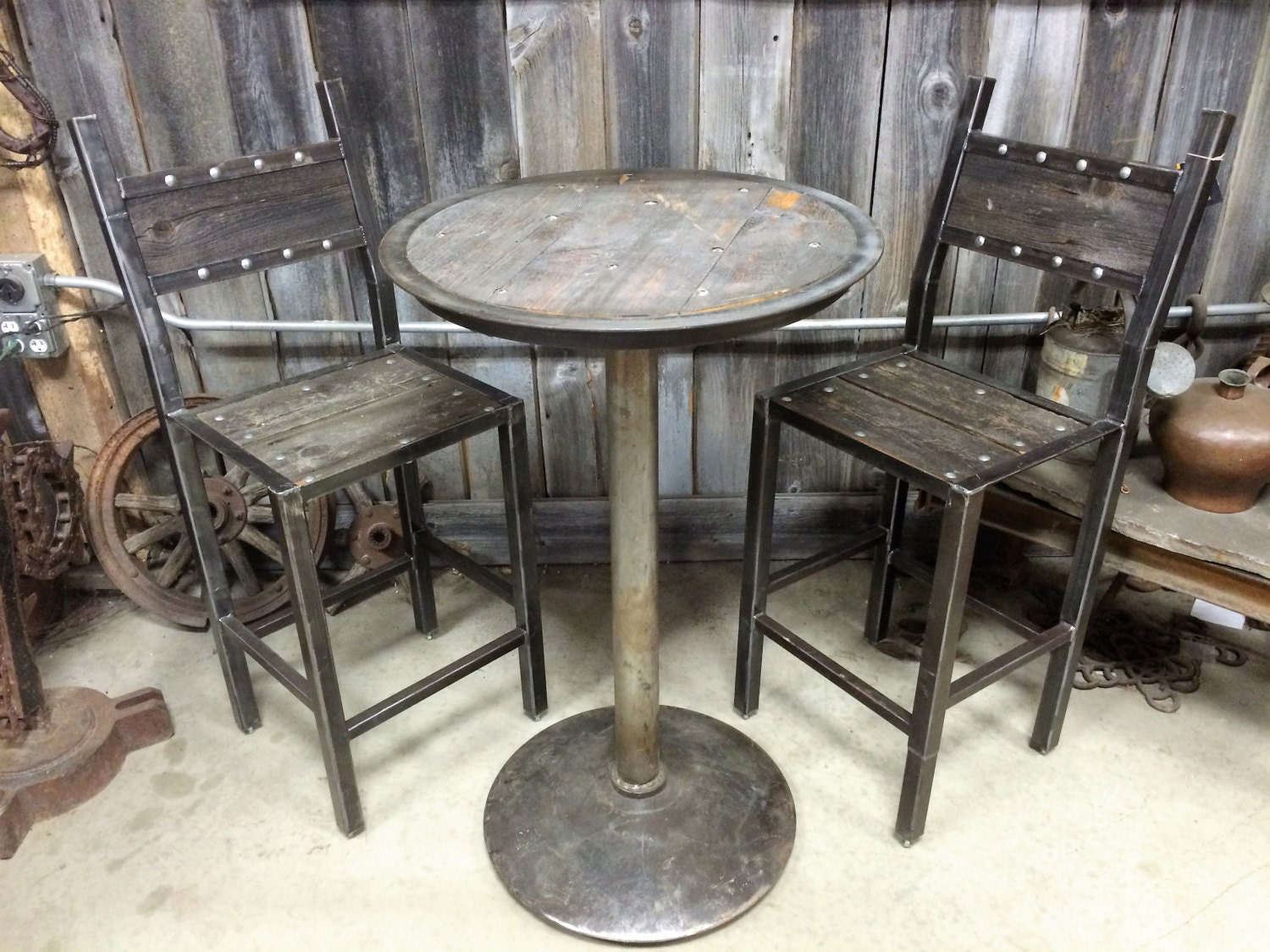 Custom Coffee / Industrial Table / Bistro Table And Chairs