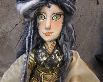OOAK cloth art doll, Snow Leopard Princess