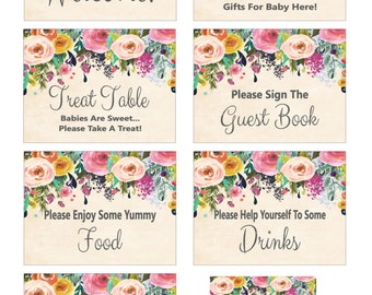 Floral Baby Shower Table Sign, Floral Baby Shower Sign Package, Printable Floral Sign, Floral Party Baby Signs - Printables 4 Less 0041