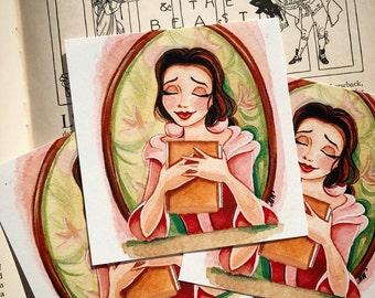 "Bookworm Princess 4x4"" Fine Art Quality Print."