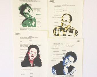 Seinfeld TV Show Cast Script Prints Jerry, Elaine, George & Kramer