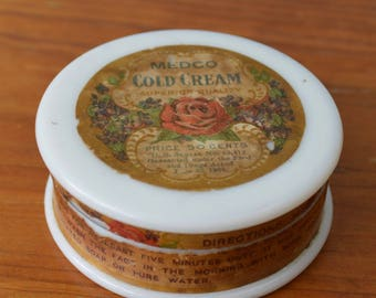 Antique Milk Glass Cold Cream Jar with Original Paper Top and Bottom Label, Floral, Medco Cold Cream