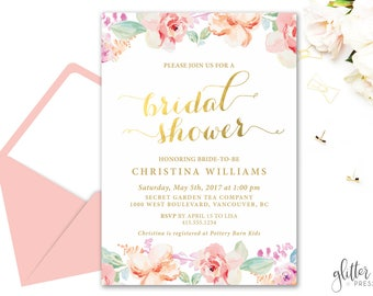 Floral Watercolor Shower Invitation Printable, Custom downloadable floral Bridal Shower Invite, Baby Shower, Floral and gold invite, 003