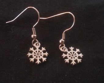 Small Snowflake Earrings, Snowflake Jewelry, Christmas Earrings, Silver Plated Snowflake, Christmas Snowflake Earrings, Nickle Free Earrings