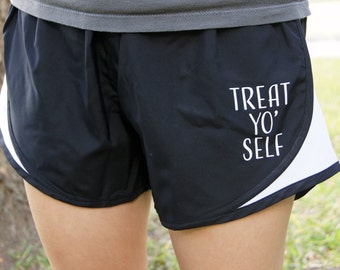 Parks and Recreation Treat Yo Self Shorts - Gym, Work Out, Exercise, Athletic, Running Clothing
