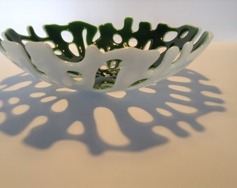 FREE SHIPPING - Dark Green & White Fused Glass Coral Bowl