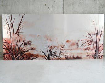 1970's mid century Belgian very large (220x100)  Etched metallic landscape picture