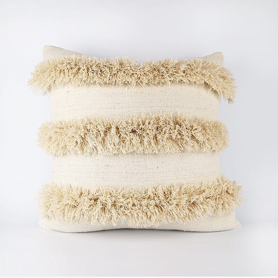 Natural White African Mudcloth And Fringe Pillow Cover 20x20
