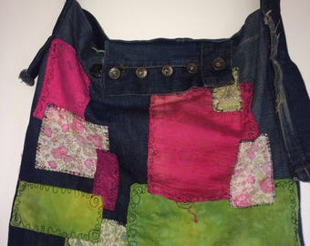 Denim shoulder bag from Massimo Dutti Jeans with Liberty fabric patches