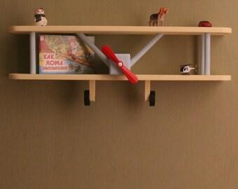 Airplane Wall Shelf, Biplane shelf, LARGE Airplane Shelf, Wooden Airplane, Airplane Decor, Biplane, Aircraft Decor, Travel Decor