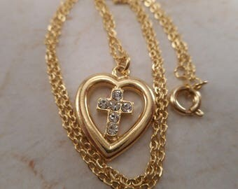 Vintage Yellow Gold Tone Heart Cross Rhinestone Pendant with Yellow Gold Tone Chain Necklace 17 inch