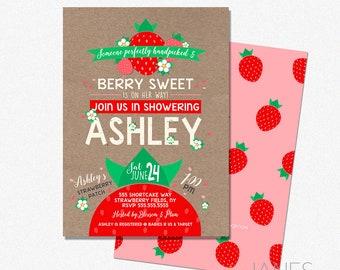 "Berry Sweet Baby Shower Invitation | Strawberry Shower Invite | Farmer's Market Shower Invite - 5X7 with *bonus reverse side"""
