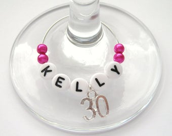 Birthday / Age Wine Glass Charm - 16th / 18th / 21st / 30th / 40th / 50th / 60th / 70th / 80th