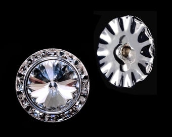 Style # 14996 - 18mm Rondel Button with Crystal Rivoli Center