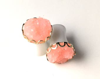 Faux Druzy Drusy Pink Gauges Gages Plugs 0g 8mm Bridal Wedding Bridesmaid