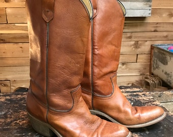 Vintage FRYE Western Boots Vtg Brown  Leather Cowboy Boots Made in USA Men's Size 9 1/2 Women's 11