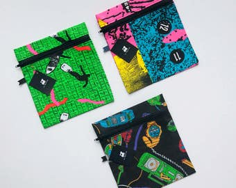 All lunch bags in thematic fabric back to the future, 90s, handmade, ecological, eco-friendly, green fluo, surfer,