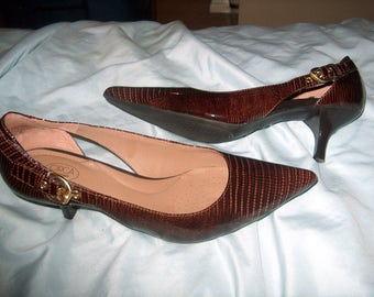 Vintage Women's Shoes, Joan & David, Brown, Callalily, Patent Leather, 10 1/2 M, WAS 25.00 -  50% = 12.50