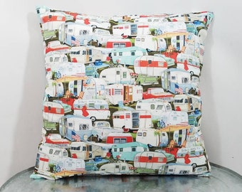 Custom made vintage trailer camper pillow cover/sham. Multiple sizes to choose from.