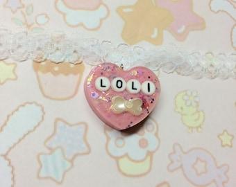 Kawaii Lacy Loli Choker , present for otaku , white lace , handmade pendant