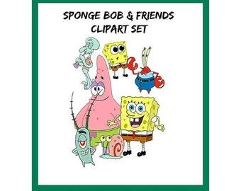 Sponge Bob Square Pants Image Sponge Bob & Friends Digital ClipArt Set 10 PAGES Patrick Mr Krabs Tenacles Plankton Template Cartoon
