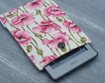 iPad Mini Cover / Floral Kindle Touch Case / Kindle 6/ Kindle Paperwhite / Kindle Fire Padded Sleeve (case) With Poppy Print and Button