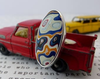 Contemporary Fordite Statement Ring