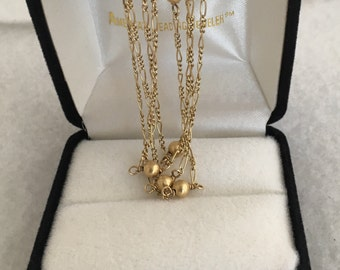 """Rare 14K Gold Flapper Style 30"""" Round Bead Sectional Link Chain Necklace 585 Yellow Gold"""