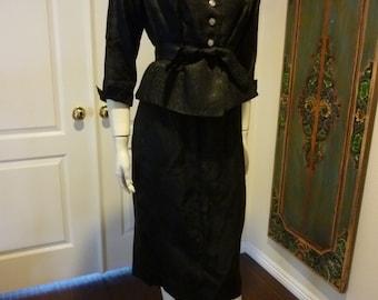 Elegant vintage 1940's Black Brocade Jacket Dinner Pencil Skirt Suit  so Myrna Loy