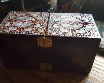 Abalone inlay, jewelry box,brass hinge