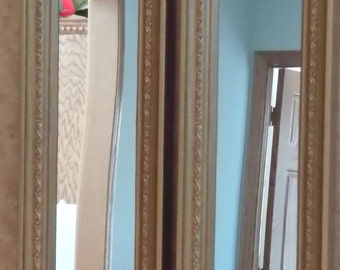 Pair Long Narrow Homco Rectangle Mirrors Gold Framed Embossed Trim #2373B from 1978