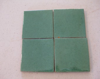 25-3x3 Green Talavera Mexican Clay Tile (Shipping Included)
