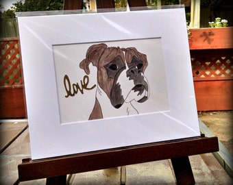 Boxer Dog gold Love-Original Watcolor-Boxer Love watercolor-limited edition-dark brown fawn
