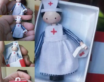 Handcrafted OOAK wooden Dillydolly Tiny Nurse Tessie - collectable dolly or dolls house toy