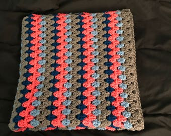 Handmade baby blanket coral, blue, grey, soft