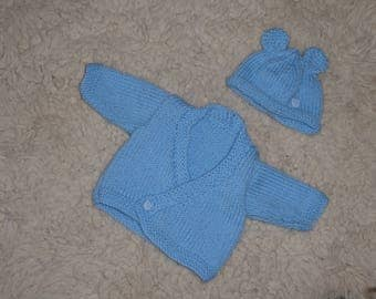Gorgeous soft blue, cross-over cardigan/hat set for newborn baby